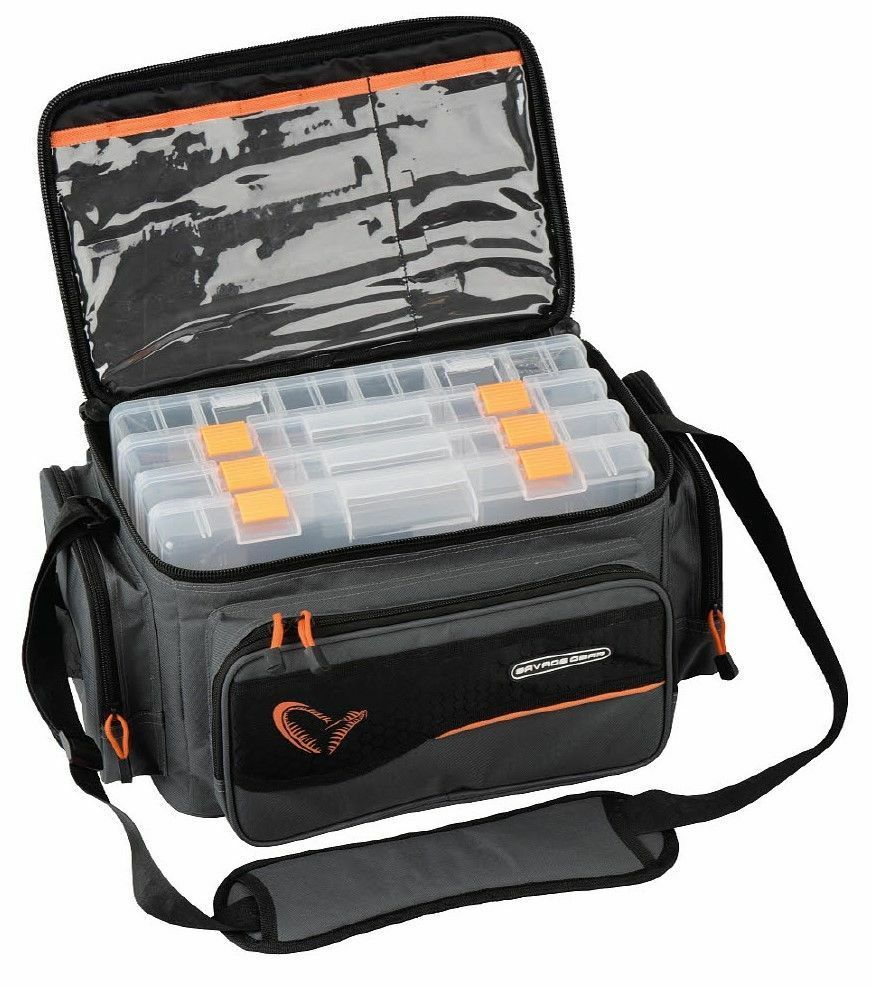 SAVAGE GEAR System Box Bag L 24x47x30cm incl. 4 Boxes Fishing Bag Code 54777