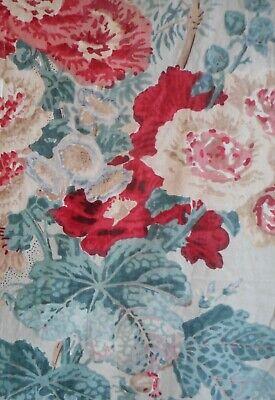 Vintage English Botanical Hollyhock Floral Picotage Chintz Cotton Fabric ~ Coral