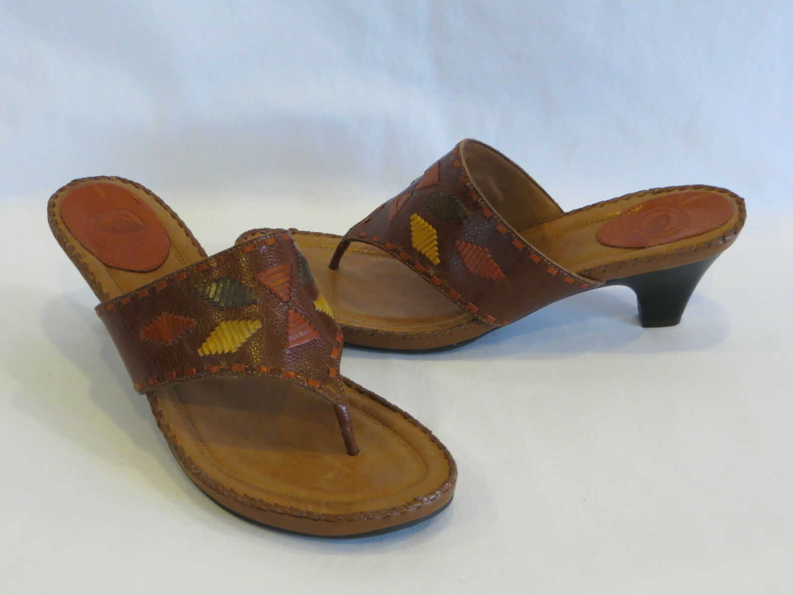 Nurture Brown Multi color Leather Thongs Sandals Slides - 9.5M - NEW