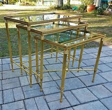 Vintage Italian Brass & MIRRORED Glass Regency NEOCLASSIC NESTING TABLES