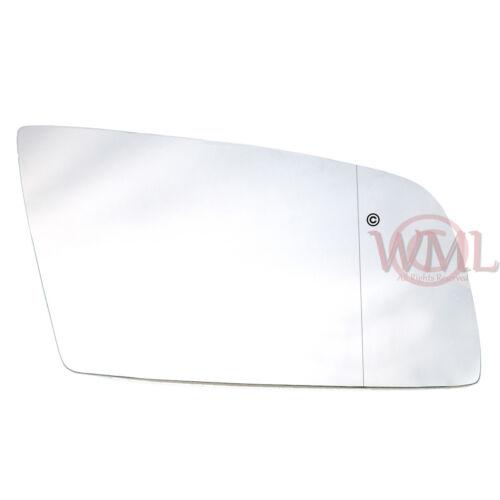 con calefacción /& Base /> 2008 Puerta//Ala Espejo De Cristal Asférica De Plata Derecho BMW 5 Series 2003
