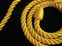 2 Rope curtain tiebacks Yellow gold slender slinky cord drape tie back holdbacks