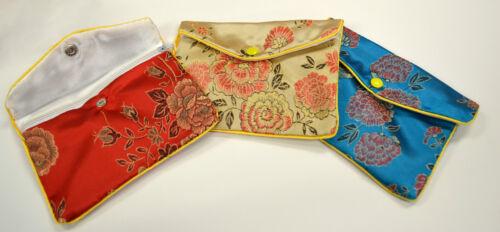 "6 1//2/"" x 4/"" Silk Jewelry Chinese Pouch Bag Roll Assorted FOUR DOZEN Zipper"