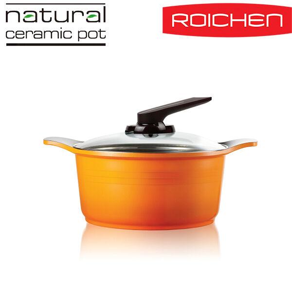 [ROICHEN]Natural Stone Ceramic Coating Pot casserole  24cmRNC-24LC GS orange