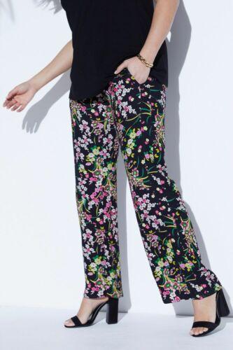 ULLA POPKEN viscose pantalon avec Print Noir NEUF