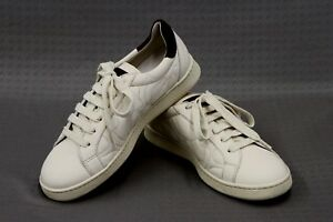 NWOB-2125-Brunello-Cucinelli-100-Leather-Quilted-Logo-Sneakers-Sz-37-7US-A181