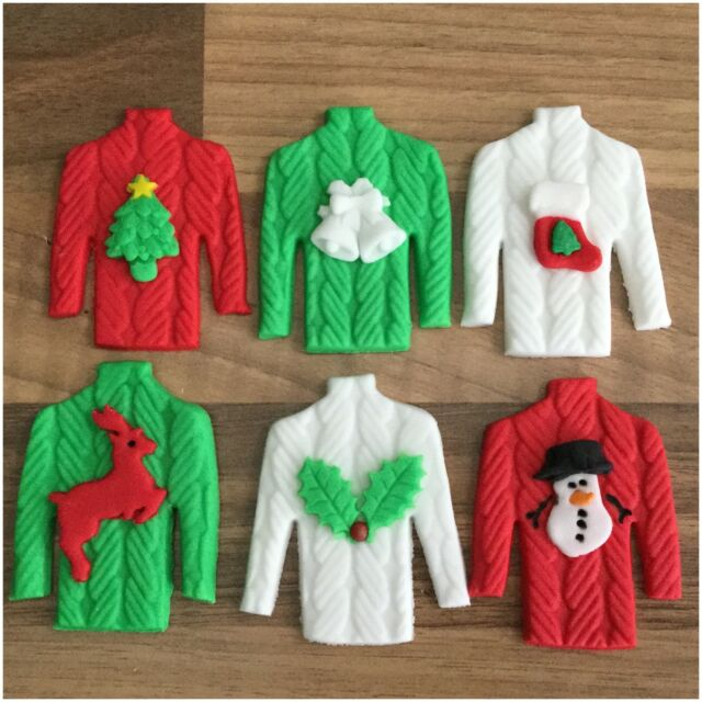 6 Edible Christmas Jumper Sugar Cake & Cupcake Toppers Decorations