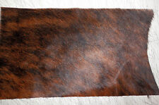"""BRINDLE Hair On Cowhide Leather Scraps 9.5""""x16"""" avg 1mm thick #1587"""