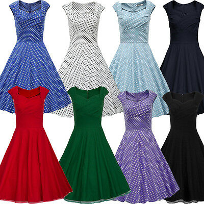 Womens 50s 60s Vintage Rockabilly Swing Pinup Housewife Casual Office Lady Dress