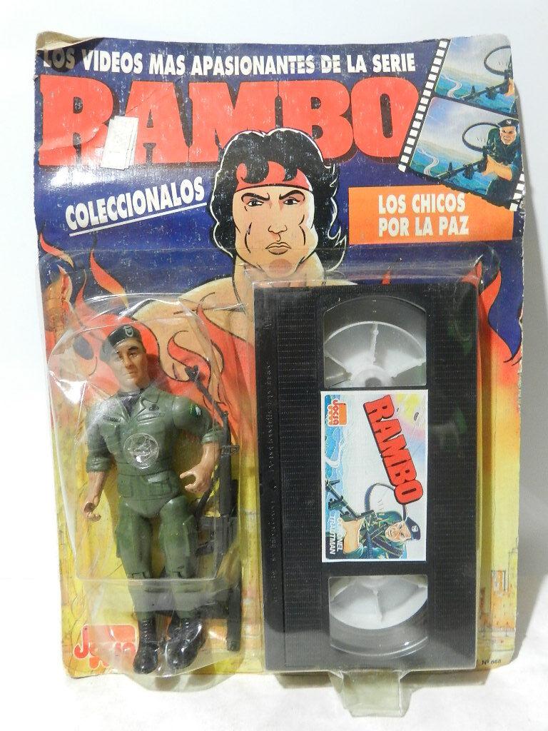 Vintage - rambo - actionfigur colonel trautman vhs 1988 in brand jocsa card versiegelt