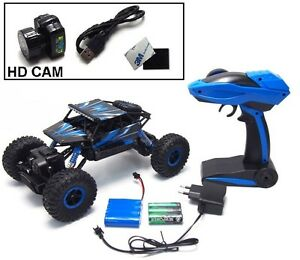 RC-Rock-Crawler-Conqueror-blau-mit-HD-Kamera-4WD-M-1-18-2-4-GHz-inkl-Akku-NEU