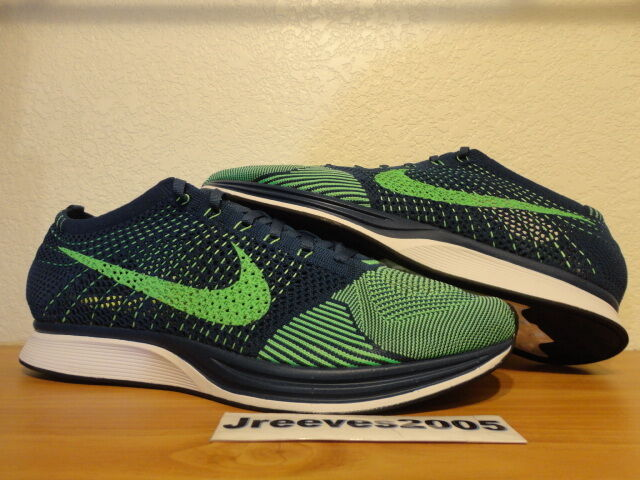 f89cfa57b0763 Nike Flyknit Racer Running Shoes Brave Blue Poison Green 526628-403 Size 14