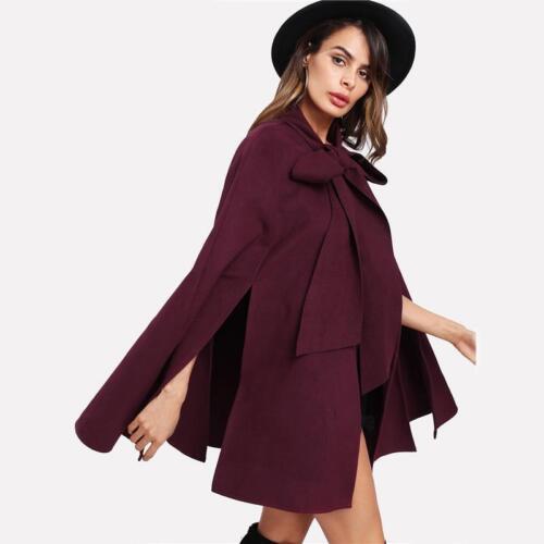 Back Coat Langærmet Mode Burgundy Kvinder Farve Front Slids Elegant Tied P74qYx