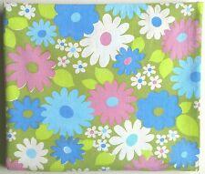 Vintage WABASSO? Bedsheet DOUBLE ?? 70's Flower Power Purple Blue White Daisies