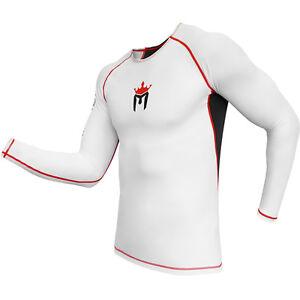 MEISTER-RUSH-LONG-SLEEVE-RASH-GUARD-WHITE-RED-MMA-BJJ-Surfing-Diving-Shirt
