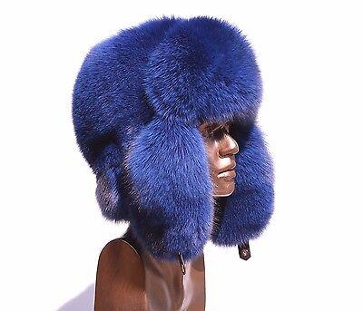Premium Quality Saga Furs Pure Blue Fox Fancy Ushanka Alaska Hat VERY WARM!!!