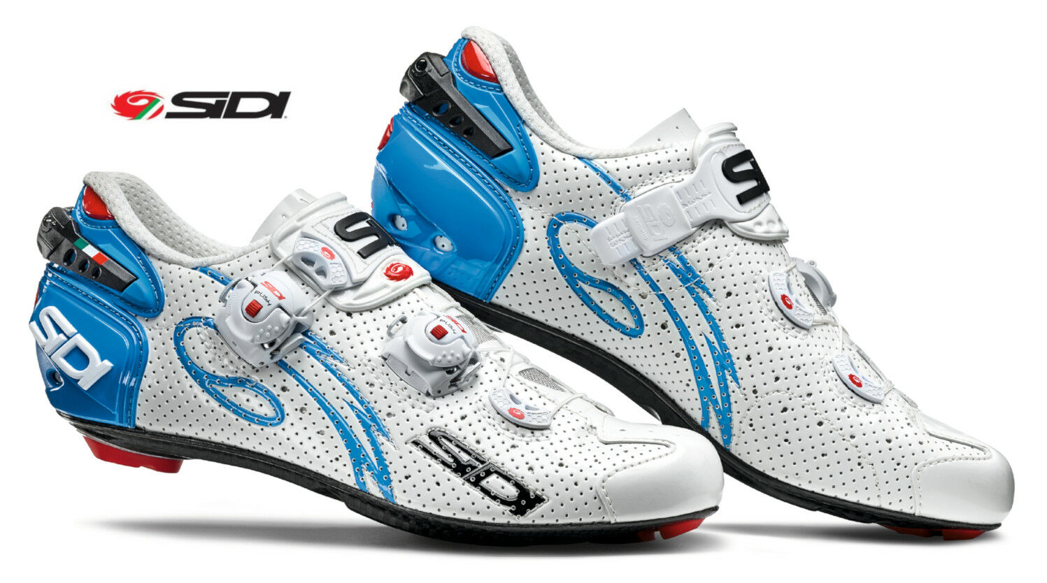 Sidi Wire Air Vent Carbon Women's Road Cycling shoes, White Light bluee
