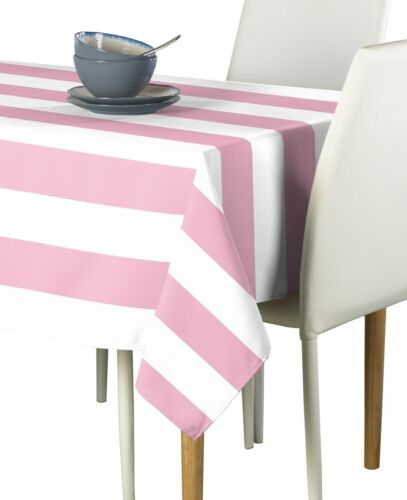 Pale Pink /& White Cabana Stripe Signature Tablecloth Assorted Sizes