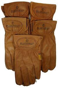 5-Pairs-Plainsman-Premium-Goatskin-Cabretta-Brown-Leather-Gloves-MED-LAR-NEW