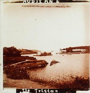 FRANCE-Bretagne-Audierne-Ile-Tristan-Finistere-Photo-Stereo-Plaque-Verre-ca-1910