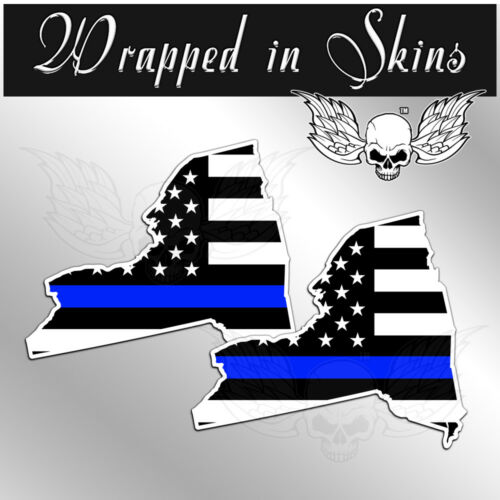 Thin Blue Line Police Flag Stickers 2 Pack Adhesive Vinyl #CL New York  Decals