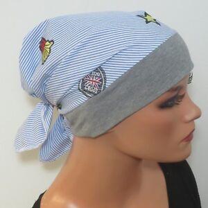 Kleidung & Accessoires Hüte & Mützen Aus Dem Ausland Importiert Damen Kopftuch/mÜtze Blau Baumwolle Ideal Als ChemomÜtze Turban Chemo üBereinstimmung In Farbe