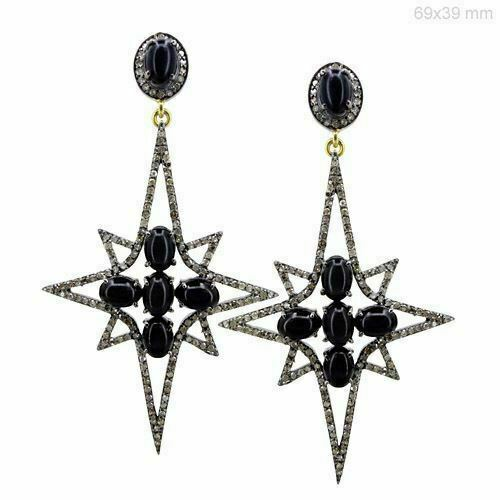 Details about  /Onyx Gemstone 925 Sterling Silver Pave Diamond Star Earring Jewelry DJ