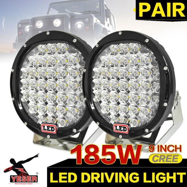 2 x 9inch 185W LED CREE Driving Spot Work Light Offroad SUV 4WD 160W 96W  Black