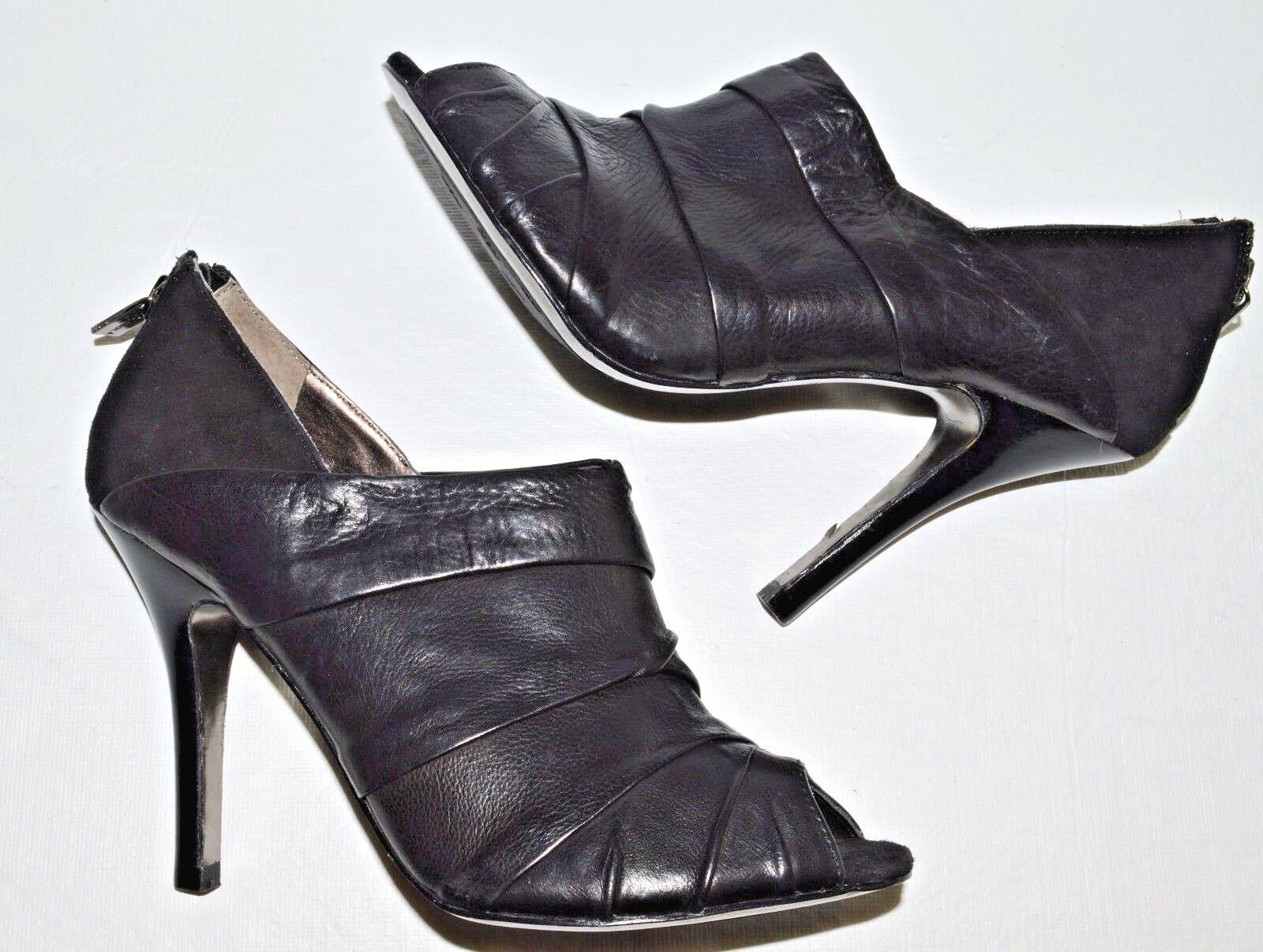 ISOLA NEW SZ 6.5 M BLACK LEATHER OPEN Schuhe TOE BOOTIES PUMPS HEELS Schuhe OPEN 546965