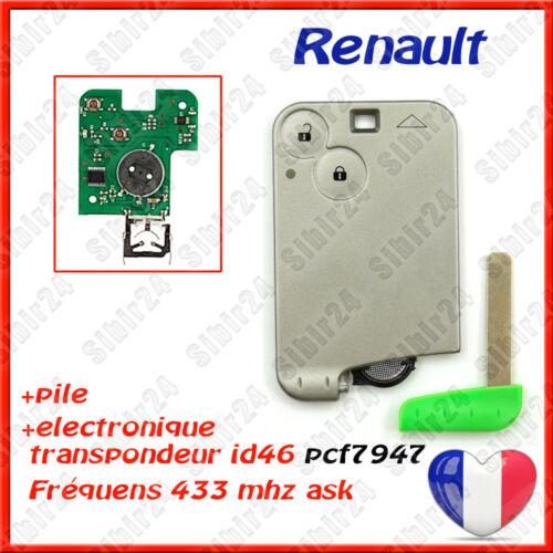 Clé carte Laguna 2 Vel Satis électronique vierge à programmer Renault