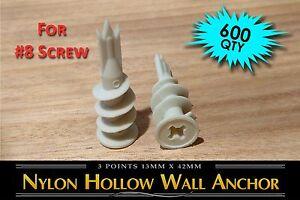 600-Self-Drilling-Nylon-Hollow-Wall-Drywall-EZ-Anchor-Easy-Drive-plastic