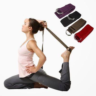D-Ring Pilates Yoga Stretch Strap D-Ring Belt Waist Leg Fitness 180CM Adjustable