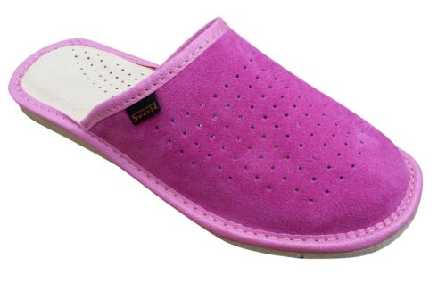 Womens Pink 100/% Natural Leather Slippers Mules Slip On  Size 3 4 5 6 7 8