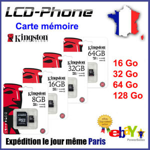 Carte-memoire-Micro-SD-KINGSTON-ORIGINE-16-32-64-128-Go-100-Reel-Capacite