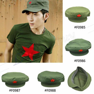 9ce83f39564 New Chinese Army Red Star Cap Cotton Hat Mao Communist Party Metal ...