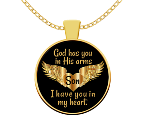 Dad Memorial Necklace Gift Guardian Angel Jewelry Gift For Daughter Son Personalized Keepsake Gift Gold Pendant Necklace Free Gift Box