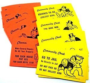 32 PCS 1 set of Vintage Monopoly Community Chest and Chance Replacement Cards