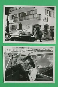 2x-Foto-Auto-Oldtimer-DKW-Auto-Union-1950-1960er-Dachgepaecktraeger-Winter-Ski