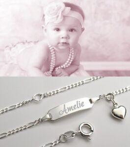 Fang Online-Shop noch eine Chance Details zu Gravur Armband Armkette Baby Kinder Echt Silber mit Herz  Anhänger Name Datum NEU
