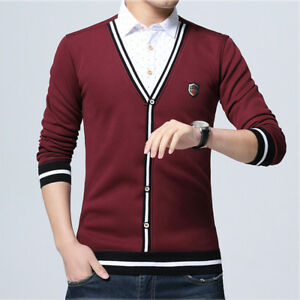 e1dbbb2353205 2019 Mens Fake Two Pieces Sweater Long Sleeve Tops Thick Pullover ...