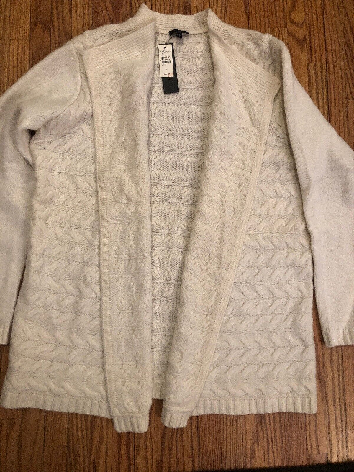 TALBOTS NWT  CREAM 70% Merino Wool Soft Knit Open Cardigan Top Six Lg