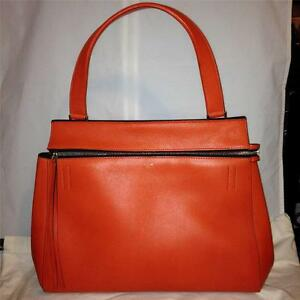 CELINE-Edge-Medium-Leather-Tote-Shopping-Hand-Shoulder-Bag-Shopper-Orange-Red