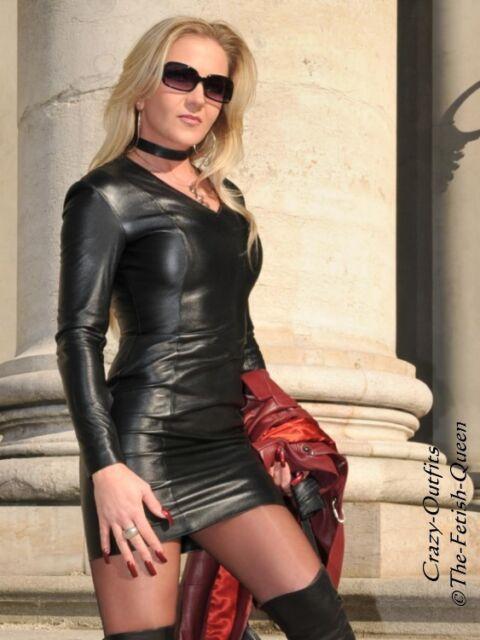 Lederkleid Leder Kleid Schwarz Mini Langarm Größe 32 - 58 XS - XXXL