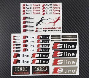 AUDI-S-LINE-QUATTRO-2-autocollant-feuille-d-039-autocollants-ensembles-47-A3-A4-A6-RS-SLINE