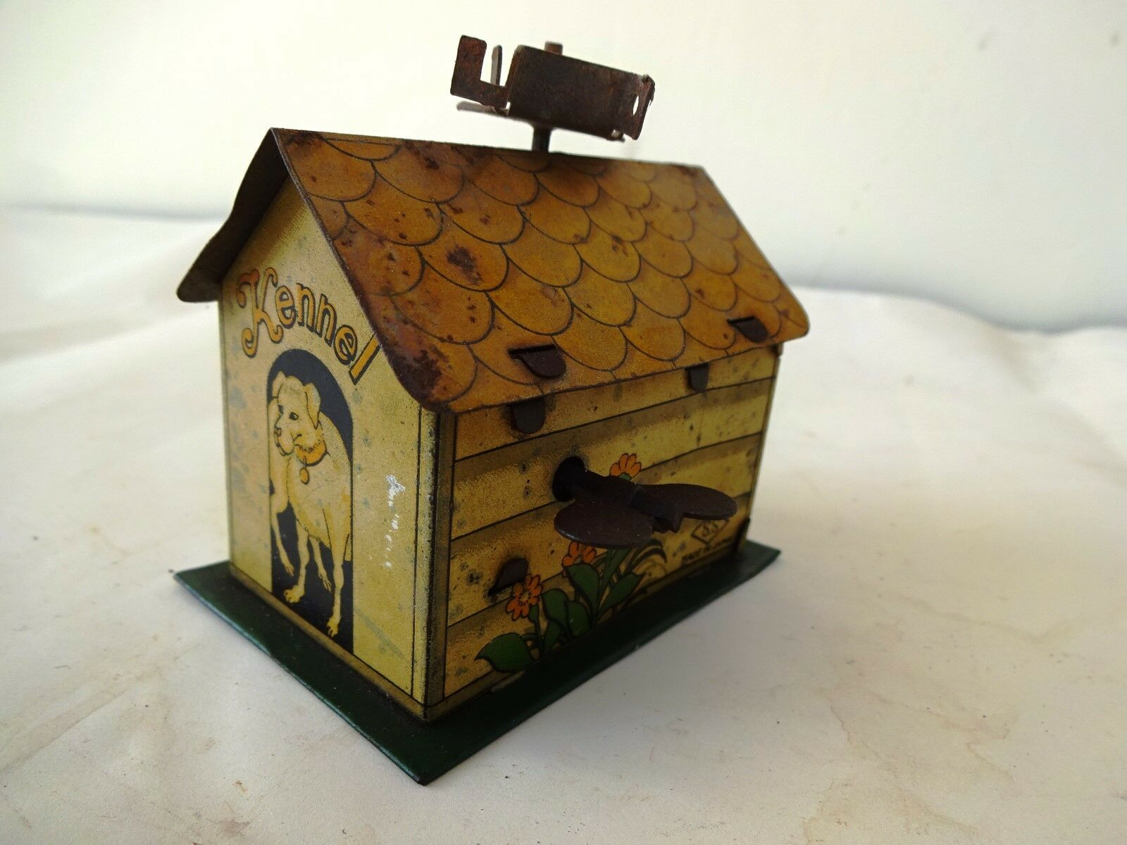 Kennel Dog House Antique Tin Toy Made In Japan Litho Wind Up Collectibles Rare