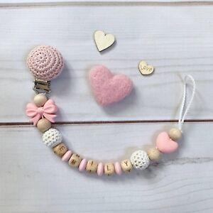 Schnullerkette Schnullerhalter Nuckelkette mit Namen Silikon Mädchen rosa weiß