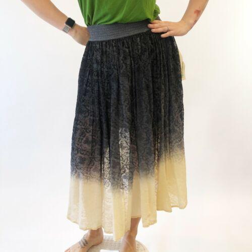 GUTI Ballerine ombre jupe S Noir Crème Texturé Floral doublé en maille pour femme NOUVEAU