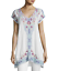 JOHNNY-WAS-Blouse-V-Neck-YASSI-TUNIC-Embroidered-Short-Sleeve-Dress-XL-248 thumbnail 3