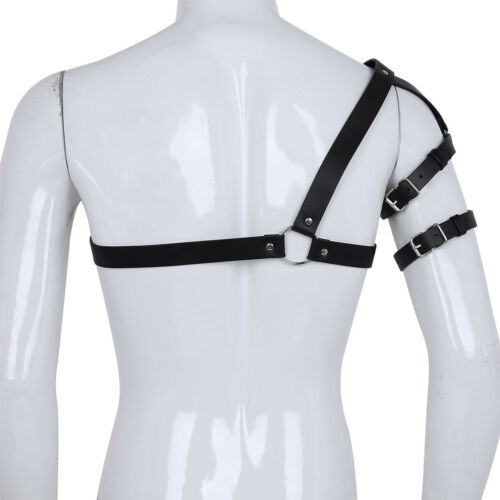 Men Classic Caged One-shoulder Strap Body Chest Half Harness Belt Gothic Costume