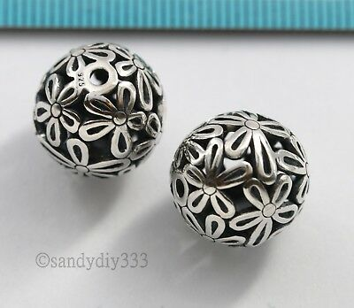 1x BALI STERLING SILVER FLOWER ROUND FOCAL FLOWER SPACER BEAD 14mm #2850